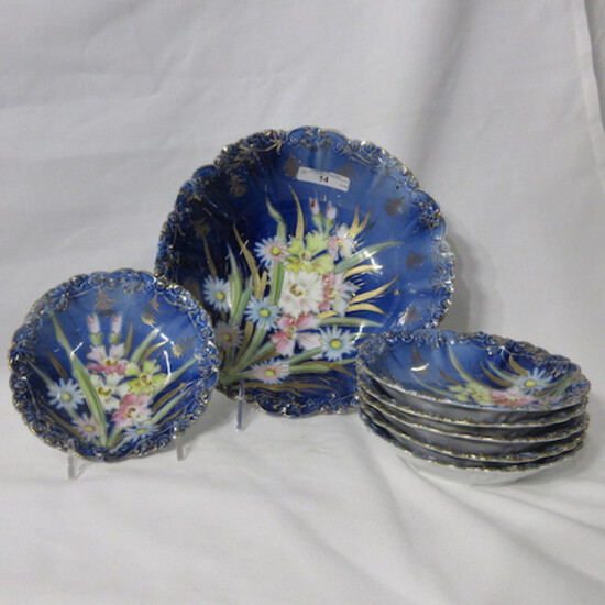 RSG Steeple mark rosebud mold 7pc cobalt & floral berry set w/ strappy flow