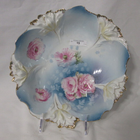 """RS Prussia 11"""" floral bowl w/ blown out edge, Carnation decor. RM"""