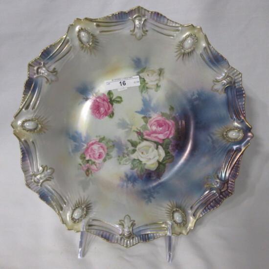 "RS Prussia 10.5"" ribbon & jewel mold satin finish bowl w/ roses decor and o"