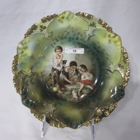 """RS Prussia 10"""" point clover mold bowl w/ Dice Thrower decor. RM"""