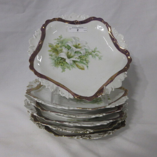 """Set of 6 RS Prussia 8"""" plates w/ Easter Lily decor 1 money"""