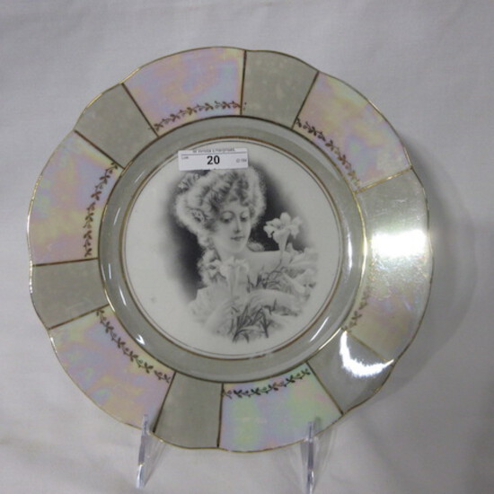 """Unmarked 9"""" plate w/ Girl holding easter lilies in negative transfer. WELL"""