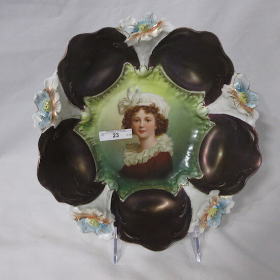 """RS Prussia 11"""" lily mold bowl w/ Lebrun portrait. Tiffany domes. some wear"""