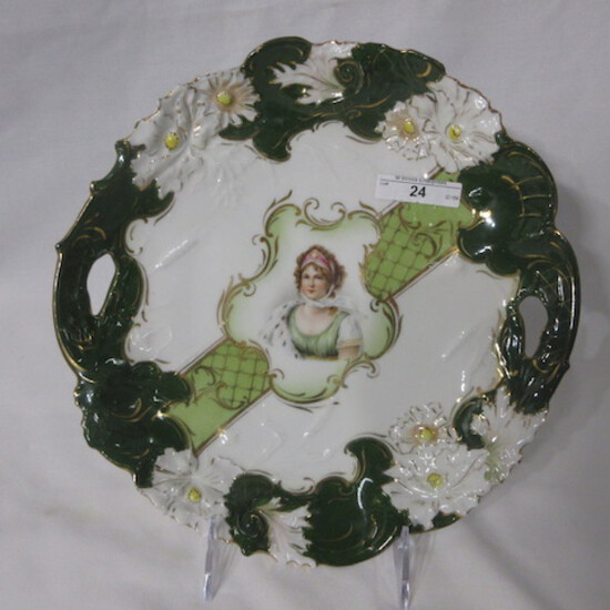 """RS Prussia steeple mark 11"""" cake plate w/ Queen Louise portrait. Nice."""