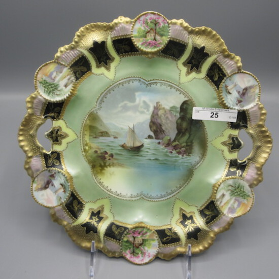 """RS Prussia 11"""" medallion mold cake plate w/ Old Man in Mountain decor and m"""