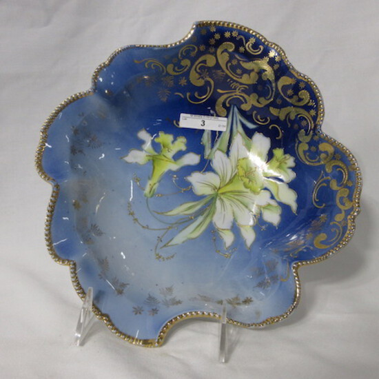 """RS Prussia mold 343 10.5"""" cobalt square bowl w/ jonquil florwers outlined i"""