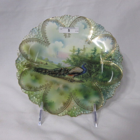 """RS Prussia 9"""" honeycomb mold plate w/ Peacock decor. RM"""