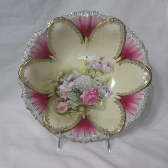 """RS Prussia 10/5"""" dome mold bowl w/ Glass Bowl of flowers decor.  RM"""