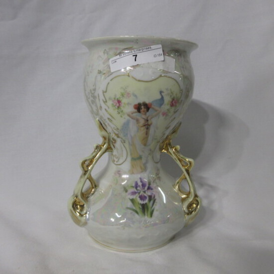 """ES Germany 8"""" 3 handled vase w/ Lady & Peacock decor and pearl finish."""