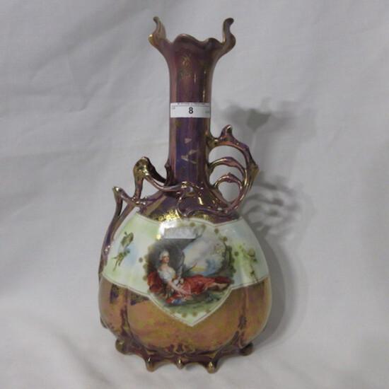 """Royal Vienna Germany 13"""" tiffany finish vase w/ Diana Huntress and Reclinin"""