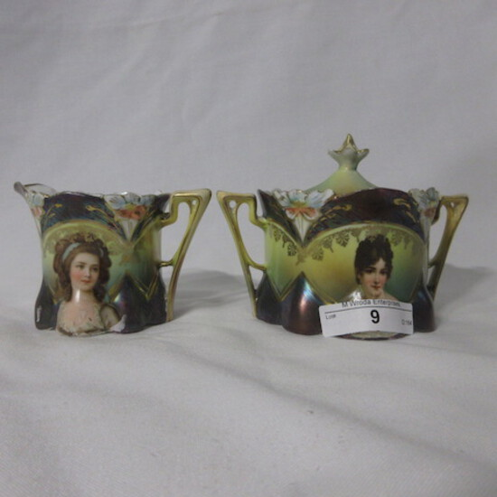 RS Prussia lily mold portrait cream and sugar set w/ tiffany finish. This i