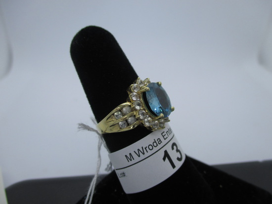 Ring-14K blue topaz, size 7