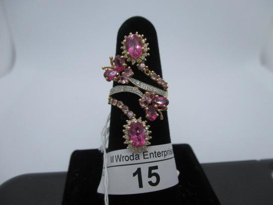 Ring-14K pink tourmaline & diamond, size 7.25