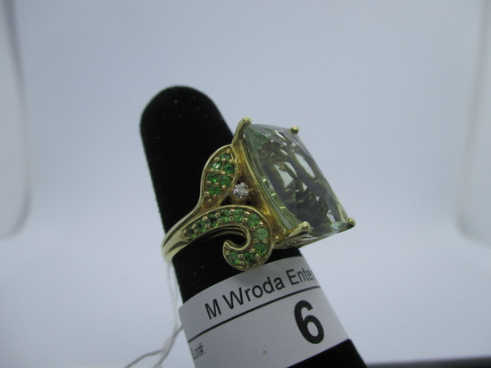Ring-10K green amethyst, size 7