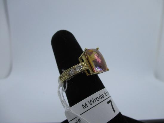 Ring-14K pink tourmaline, size 6.25