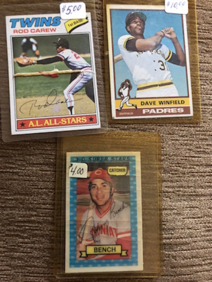 BASEBALL LOT: TWINS ROAD CAREW- DAVE WINFIELD - BENCH