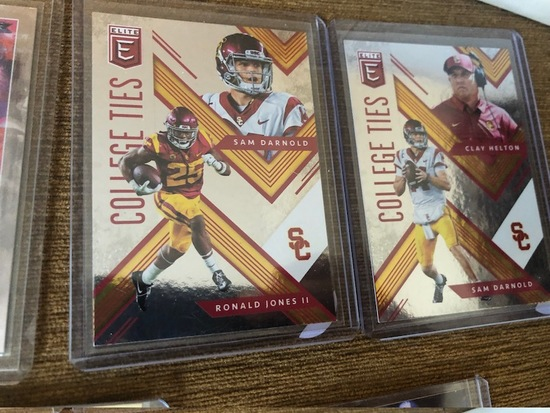 2 Card Lot Elite College Ties Sam Darnold RC, Ronald Jones