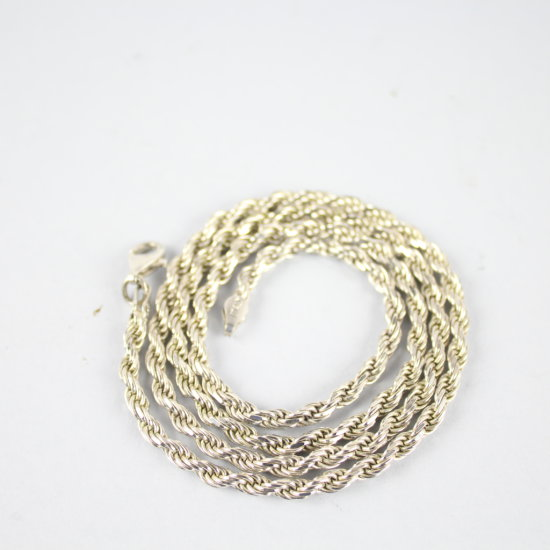"""Sterling Silver Rope Chain Necklace 22"""""""