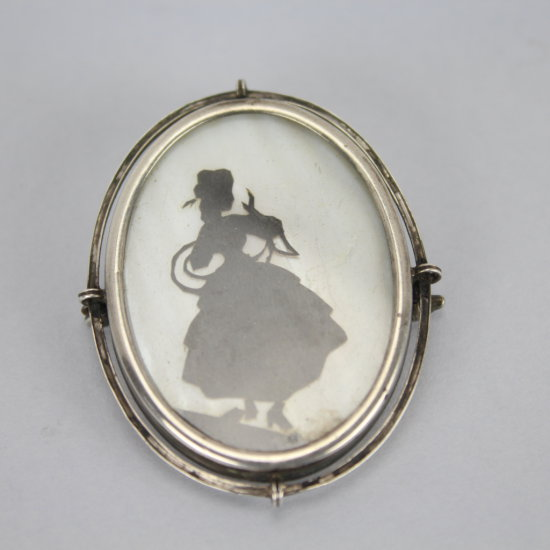 Art Deco .800 Silver Mother of Pearl Silhouette Brooch or Pendant