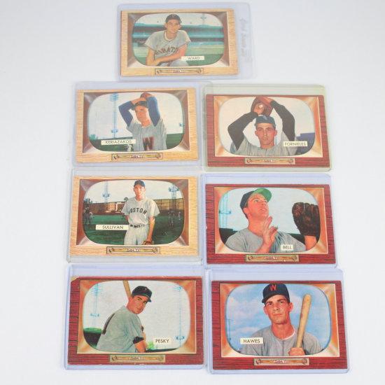 7 Vintage 1955 Bowman Baseball Cards Group 8