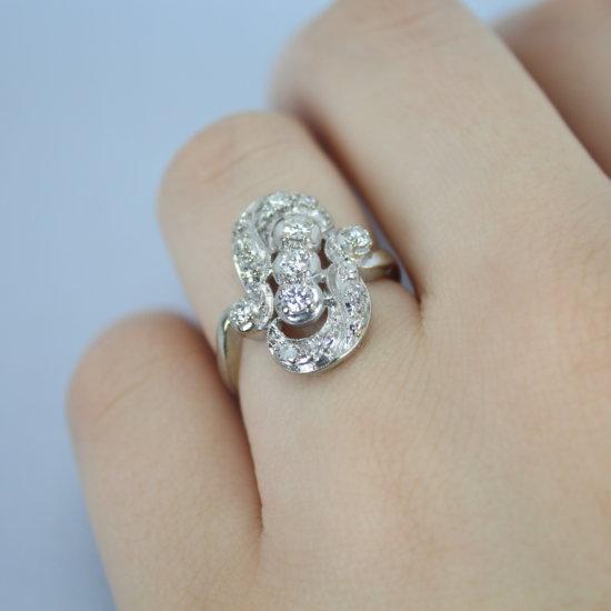 Vintage 14k White Gold & Diamond Ladies Ring Size 7.5 Signed FRCO