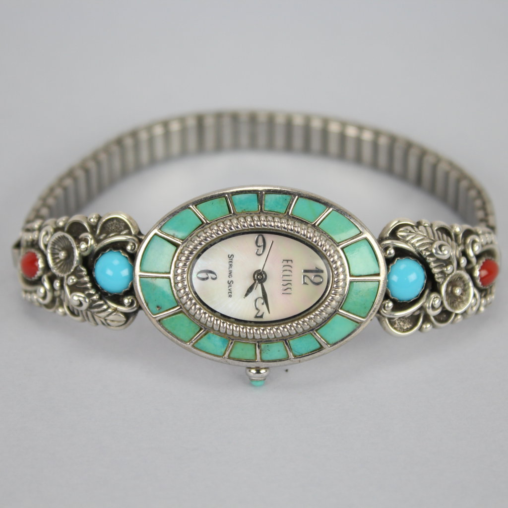 Navajo sterling silver Turquoise & Coral Watch signed STC