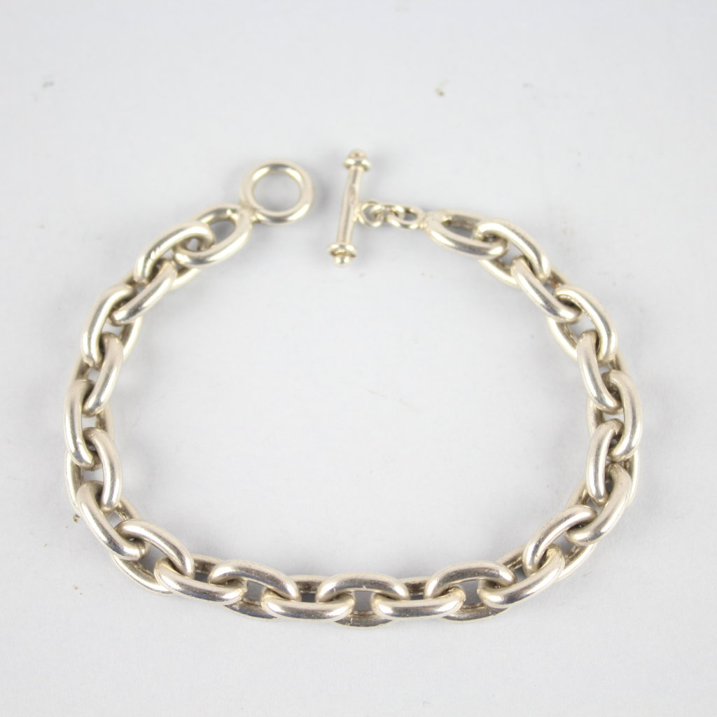 Heavy Sterling Silver Ladies Toggle Bracelet 7""