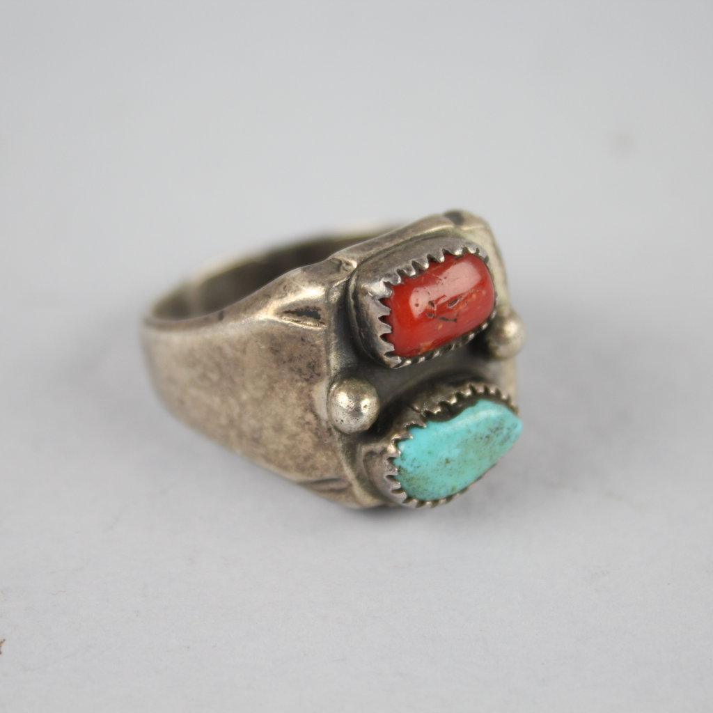 Vintage Navajo Old Pawn Men's Sterling Silver Turquoise & Coral Ring Sz 12