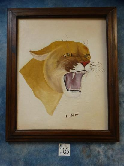 Framed Mountain Lion Painting