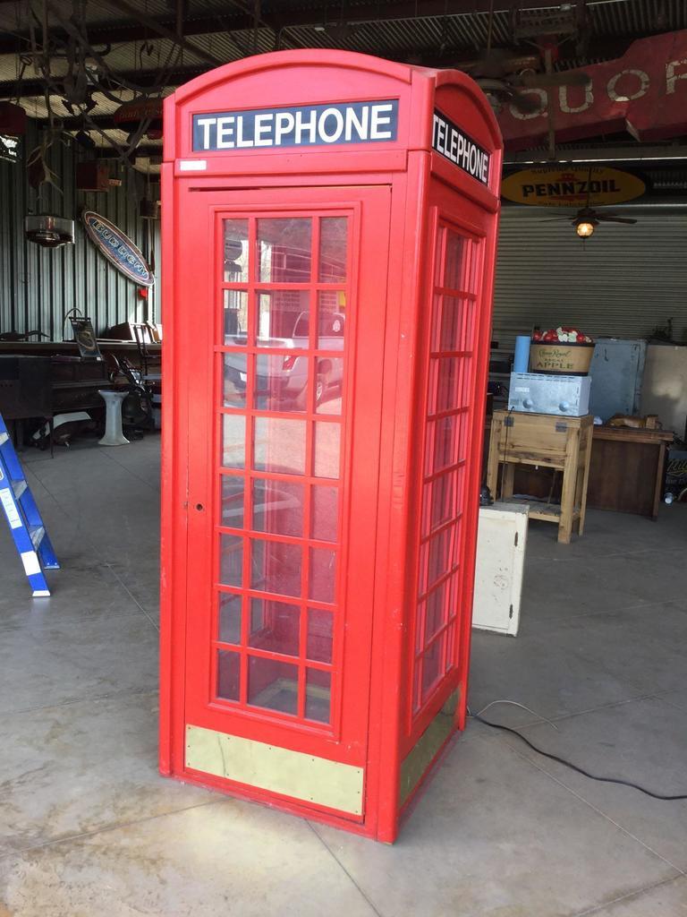 Vintage Red Wood London-style Telephone Box