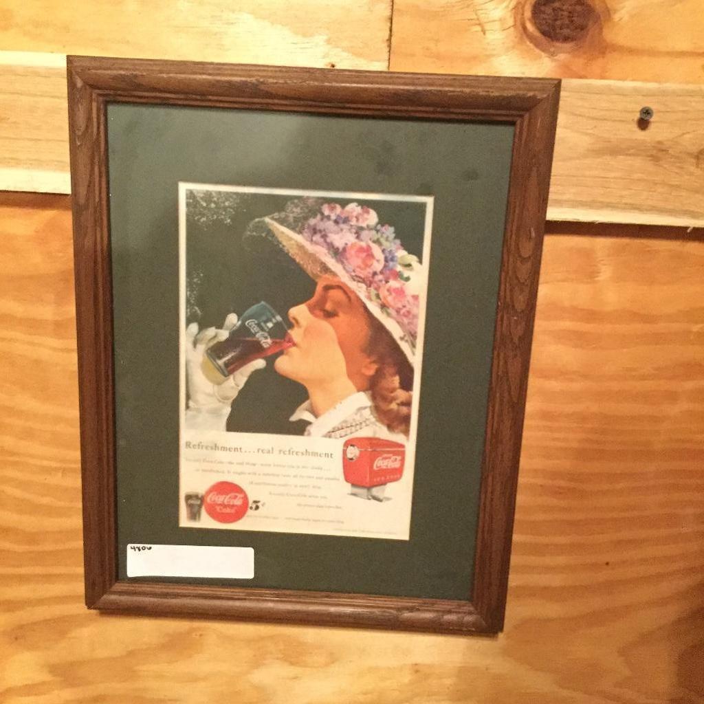 "11.5""x14"" Vintage 1949 Coke Ad in Wooden Frame"