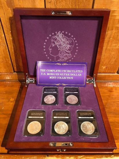 Complete Set Of Uncirculated Morgan Silver Dollars With Certificates Of Authenticity