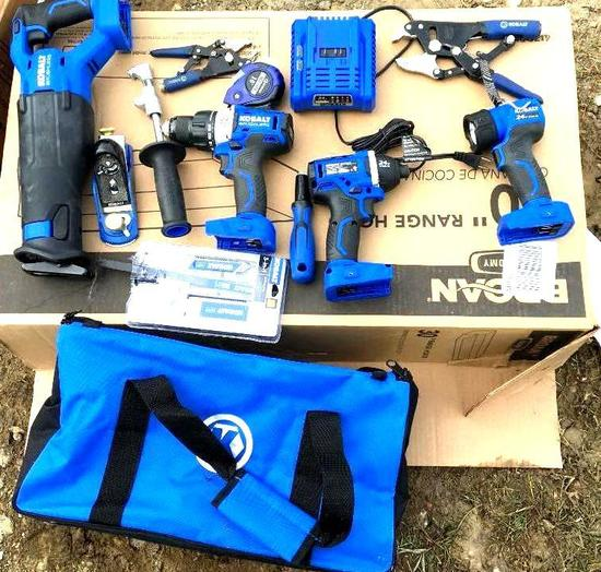 Cobalt Power Tools, Batteries, and Bag