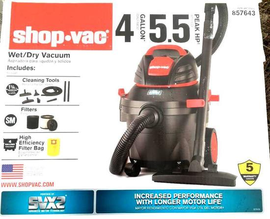 One - Shop Vac - Wet/ Dry Vacuum, 4 Gallon, 5.5 Peak HP