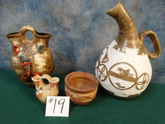 Qty of (4) Native American made Pitcher and Bowls