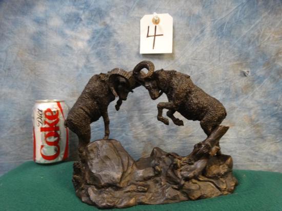 (The Challenge) Pair of Fiberglass Resin Bighorn Sheep Duelling