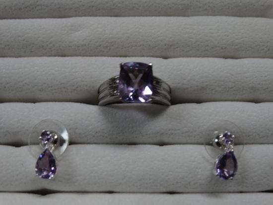 Rose de France Solitare Amethyst Ring and matching earrings