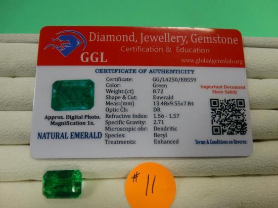 Certified Columbian 8.72 Carats Emerald