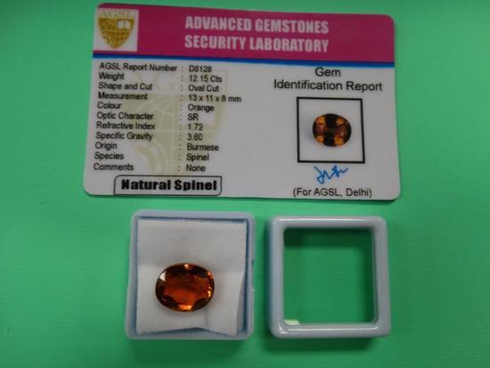 Rare Orange 12.15 Carats Burmese Spinel Natural Loose AGSL Certified Gemstone