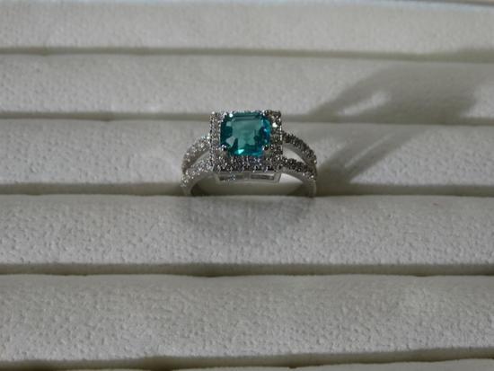 Size 8.25 Elegant Aqua Marine 925 Sterling 2.75 Ct
