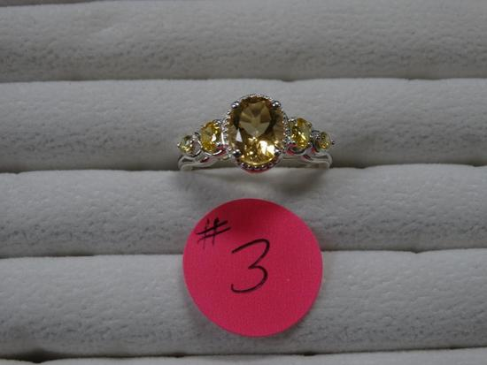 Beautiful Oval Cut Citrine Silver Casual Party Ring
