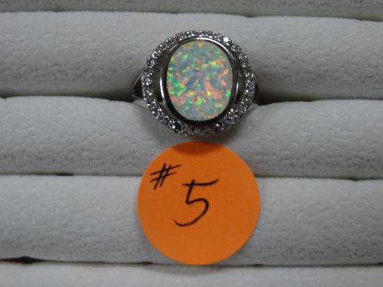 Romantic size 7.5 Womens White Fire Opal Ring
