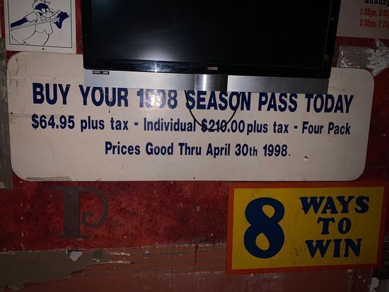 1998 Season Pass Sign