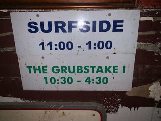 Surfside and The Grubstake 1 Sign