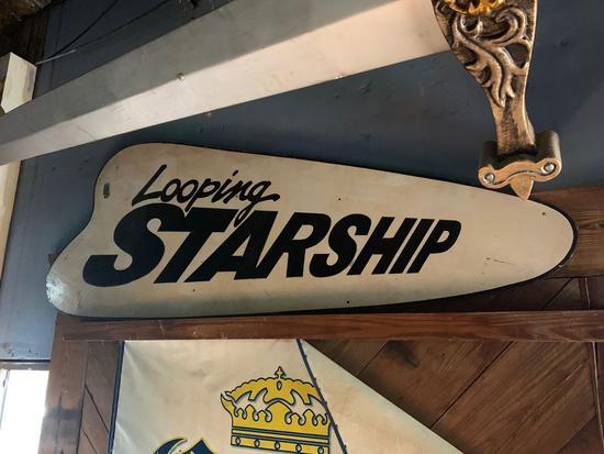 Looping Starship Wood Sign