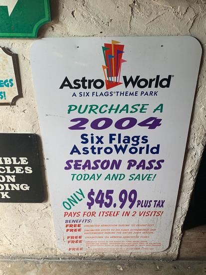 2004 AstroWorld Season Pass Sign