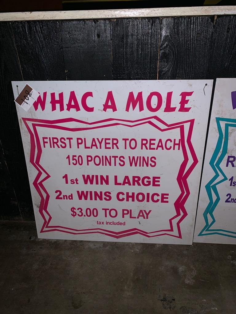 Whac A Mole Game Sign