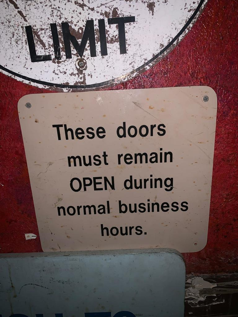 Doors Must Remain Open Sign