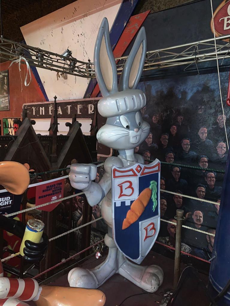 Fiberglass Bugs Bunny with Shield Statue
