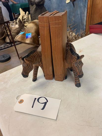 Hand Carved Zebra Bookends